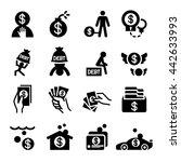money crisis   debt icons set... | Shutterstock .eps vector #442633993