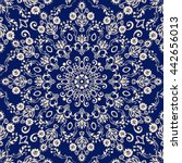 seamless damask pattern in blue ... | Shutterstock .eps vector #442656013