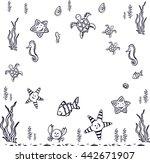 coloring book summer sea ... | Shutterstock .eps vector #442671907