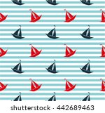 seamless sea pattern with... | Shutterstock .eps vector #442689463