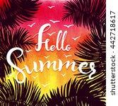watercolor summer hand... | Shutterstock .eps vector #442718617