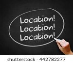 a hand writing 'location ...   Shutterstock . vector #442782277