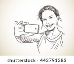 teenage girl taking selfie ... | Shutterstock .eps vector #442791283