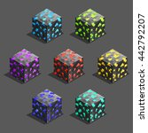 isometric game pixel brick...