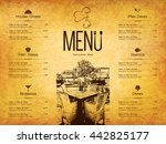 restaurant menu design. vector... | Shutterstock .eps vector #442825177