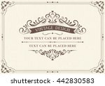Ornate vintage card design with ornamental flourishes frame. Use for wedding invitations, royal certificates, greeting cards. Vector illustration. | Shutterstock vector #442830583