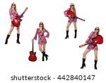 woman guitar player isolated on ... | Shutterstock . vector #442840147