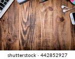 desk working space. laptop ... | Shutterstock . vector #442852927