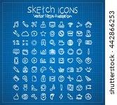 blueprint sketch icon... | Shutterstock .eps vector #442866253