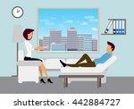 patient talking to psychologist.... | Shutterstock .eps vector #442884727