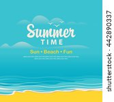 travel banner with the sea  the ... | Shutterstock .eps vector #442890337