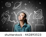 dreaming to explore space | Shutterstock . vector #442893523