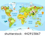 Cartoon World Map With A Lot O...