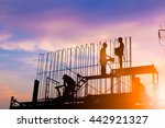 silhouette construction... | Shutterstock . vector #442921327