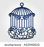 laser cut wedding birdcage with ... | Shutterstock .eps vector #442940023