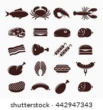 vector meat and seafood icons... | Shutterstock .eps vector #442947343