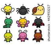 vector set of cartoon cute bugs ...