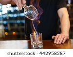 bartender burning sambuca at... | Shutterstock . vector #442958287