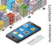 smart city isometric  app... | Shutterstock .eps vector #442965373