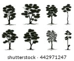 silhouettes of trees | Shutterstock .eps vector #442971247