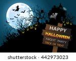 happy halloween night party... | Shutterstock .eps vector #442973023