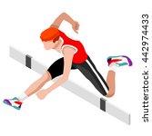 athletics hurdle jumping... | Shutterstock .eps vector #442974433