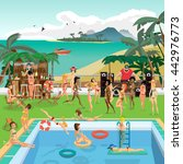 party outdoor swimming pool on... | Shutterstock .eps vector #442976773