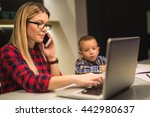 mom talking on the phone while... | Shutterstock . vector #442980637