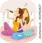 illustration of teenage girls... | Shutterstock .eps vector #442982827