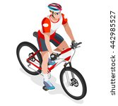 mountain bike cyclist bicyclist ... | Shutterstock .eps vector #442985527