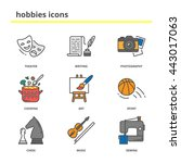 hobbies color vector icons set  ... | Shutterstock .eps vector #443017063