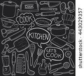 blackboard kitchen cook doodle... | Shutterstock .eps vector #443029357