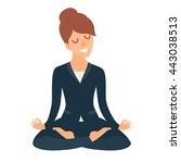 business woman meditating.... | Shutterstock .eps vector #443038513