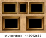 five antique golden frames with ... | Shutterstock . vector #443042653