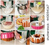 Small photo of A Step by Step Collage of Making Raspberry, Lemon and Caraway Seed Bundt Cake Topped with Sugar Glaze