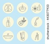 icon set of aromatherapy on a... | Shutterstock .eps vector #443077933