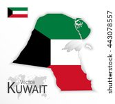state of kuwait   flag and map  ... | Shutterstock .eps vector #443078557