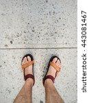 man in colour sandal shoes... | Shutterstock . vector #443081467