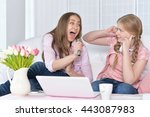 mother and daughter  with ... | Shutterstock . vector #443087983