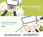 workplace in office with table... | Shutterstock .eps vector #443089027