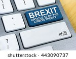Small photo of Written word Brexit Article 50 of the Lisbon Treaty on blue keyboard button. Brexit UK EU referendum concept