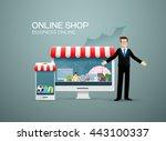 online shop  business online... | Shutterstock .eps vector #443100337