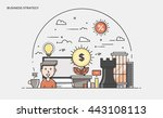 thin line flat design banner of ... | Shutterstock .eps vector #443108113