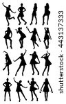 posing woman silhouettes   Shutterstock .eps vector #443137333