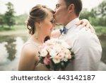bride and groom holding... | Shutterstock . vector #443142187