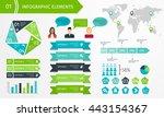 set of business infographic... | Shutterstock .eps vector #443154367