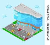 isometric city mall. modern... | Shutterstock .eps vector #443159503