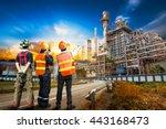 engineer team in uniform are... | Shutterstock . vector #443168473