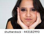 attractive model looking into... | Shutterstock . vector #443182993