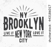 t shirt print design. brooklyn... | Shutterstock .eps vector #443186017